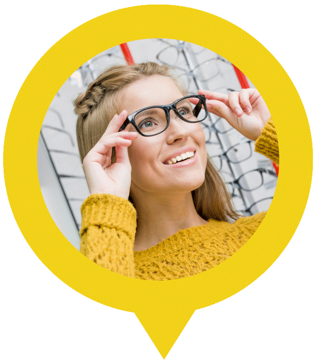 woman in glasses after eye exam